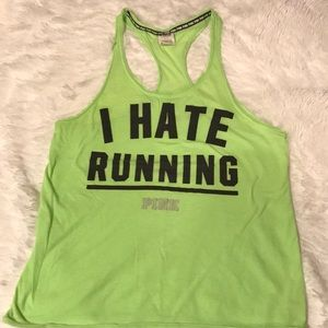 PINK, Bright Green, I hate running tank, Small